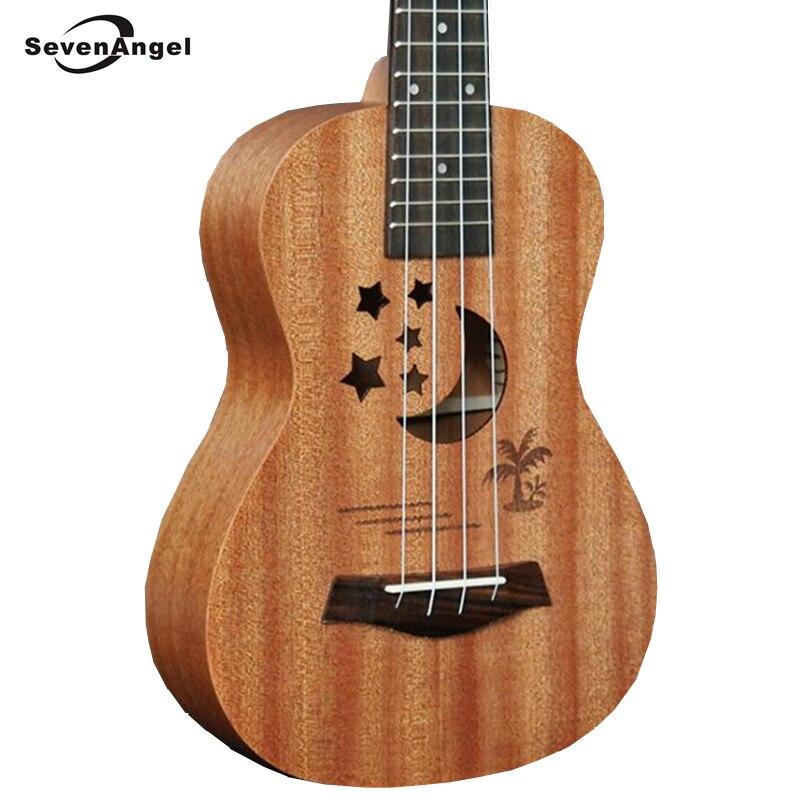 SevenAngel marque 21 pouces ukulélé électrique acoustique 4 cordes guitare sapele corps étoile lune partten Ukelele vente chaude cadeau