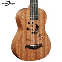 Acoustic Electric Ukulele 21 Inch Guitar 4 Strings Ukelele Sapele Body Star Moon Partten Hot Selling