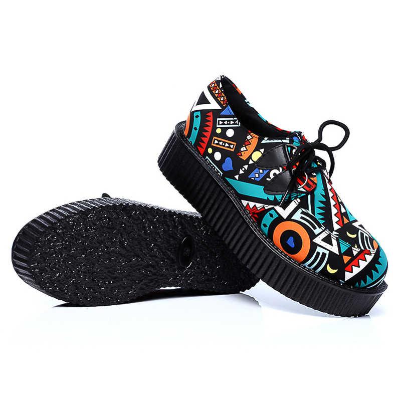 LAKESHI Creepers Frauen Schuhe Große Größe 41 Flache Plattform Schuhe Lace-Up Runde Kappe Frauen Wohnungen Casual Schuhe Solide weibliche Schuhe
