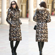 2015 Winter Fashion Brand Women Down Parka Camouflage Duck Long Down Jacket Thick Fur Collar Eiderdown Outerwear Coat H4502