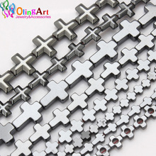 цены OlingArt 4/6/8/10/12MM Various Cross style AAA quality Beads Natural Hematite Stone DIY Necklace/Bracelet/earring Jewelry Making