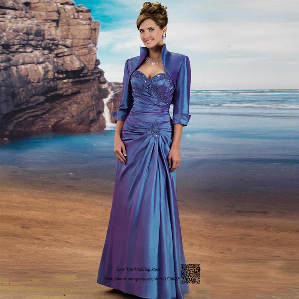 Vestido de Madrinha Mother of the Bride Dresses with Jacket Blue Beaded Long Evening Gowns Special
