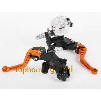 """Set For 7/8"""" Front Brake Master Cylinder Cable Clutch Brake Levers with Adjustable Fluid Reservoir Orange Color"""