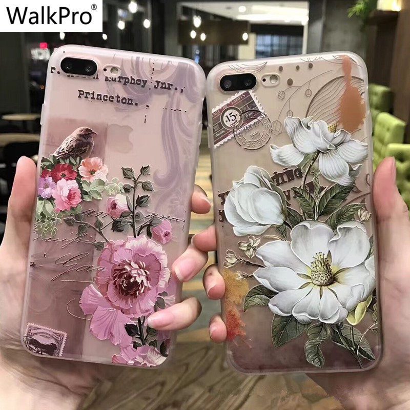 Phone cases for apple iphone 6 6s 7 Plus case cover with flowers 3D Relief Lace Flower Silicone tpu soft painting capa coque