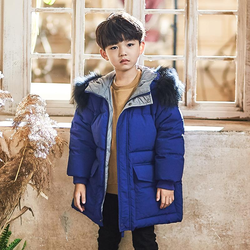 Fashion boy down jacket snow wear thicker warm white duck down coat for boy hooded casual modis kids clothes down jacket Y1731(China)