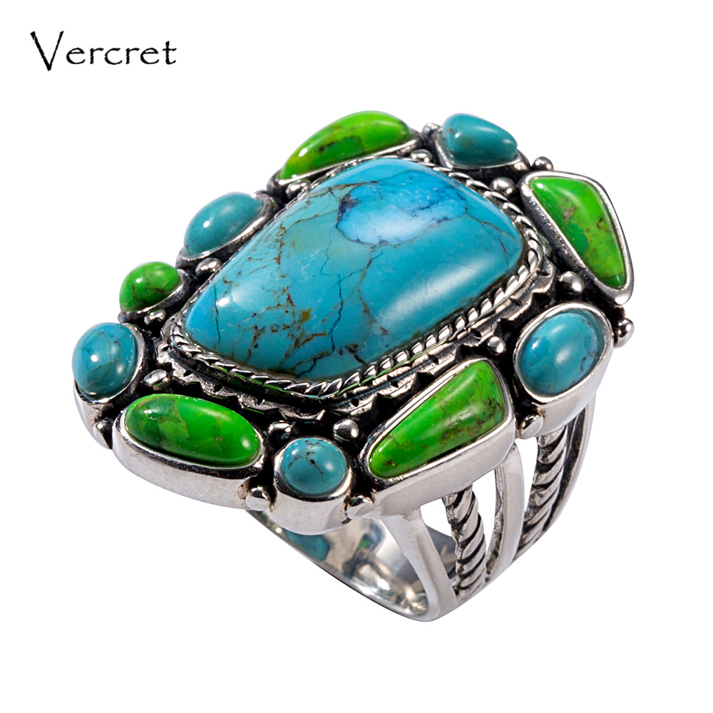 Vercret Vintage 925 Sterling Silver Turquoise Ring for Women Wedding Indian Native American Stone Ring vintage artificial oval turquoise butterfly carved ring