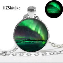 Glow in the Dark Necklace NORTHERN LIGHTS PENDANT Green Aurora Borealis Necklace glass cabochon necklace glowing jewelry