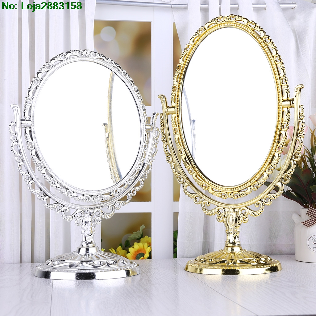 2 Sides Makeup Mirror Stand Table Cosmetic Mirror Plastic Dresser Mirrors Tools