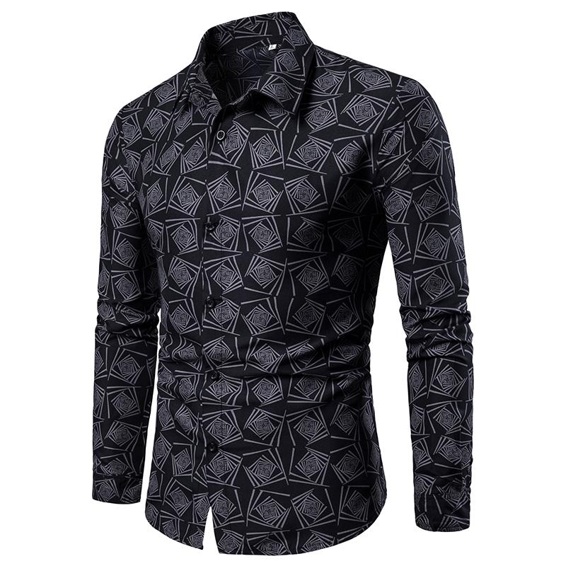 M-4XL Floral Mens Shirts Casual Flower Blouse Men Shirt Long sleeve Hawaiian Style Black Blue Green New