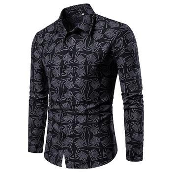 M-4XL Floral Mens Shirts Casual Flower Blouse Men Shirt Long sleeve Hawaiian Style Black Blue Green New