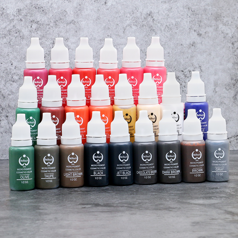 1/2 OZ/Bottle Tattoo Ink Pigment For Permanent Makeup Eyebrow Eyeliner Lip Body Tattoo Art 23 Colors Beauty Tools Free shipping hot sale 10 pcs free shipping mirco permanent makeup pigment for munsu eyebrow and lip beauty makeup tattoo ink goochie quality