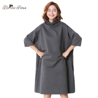 BelineRosa Simple Fashion Dresses Women Large Size Women Clothing 3XL 4XL Stand Collar Loose Dresses For