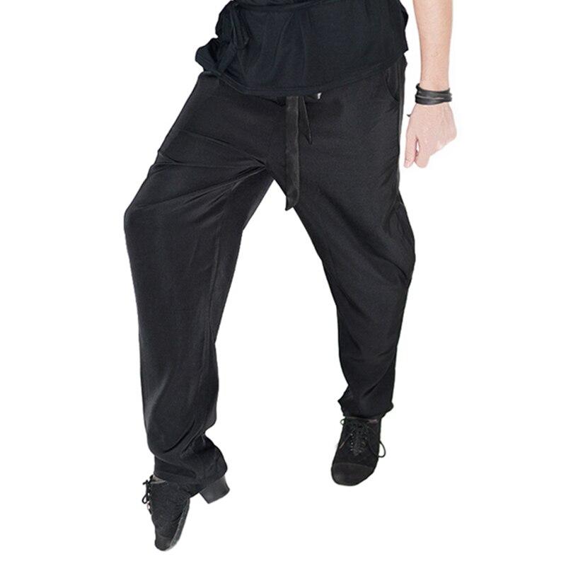 Men Latin Dance Pants Fashion Leisure Black Trousers Elastic Waist Ballroom Tango Cha Cha Clothes Performance Wear Pant DN1003