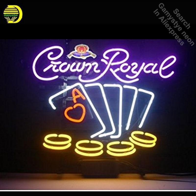 Crown Royal Poker Sinal da Luz de Néon Tubo de Vidro Real neon luzes de Recreação Professiona Icônico Sign Beer Bar Pub sign board lâmpadas