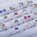 Wholesale 10pcs Cartoon Cat Flower Jewelry Lots Mixed Lovely Girls boys Princess Crystal Rhinestone Kid Children Rings