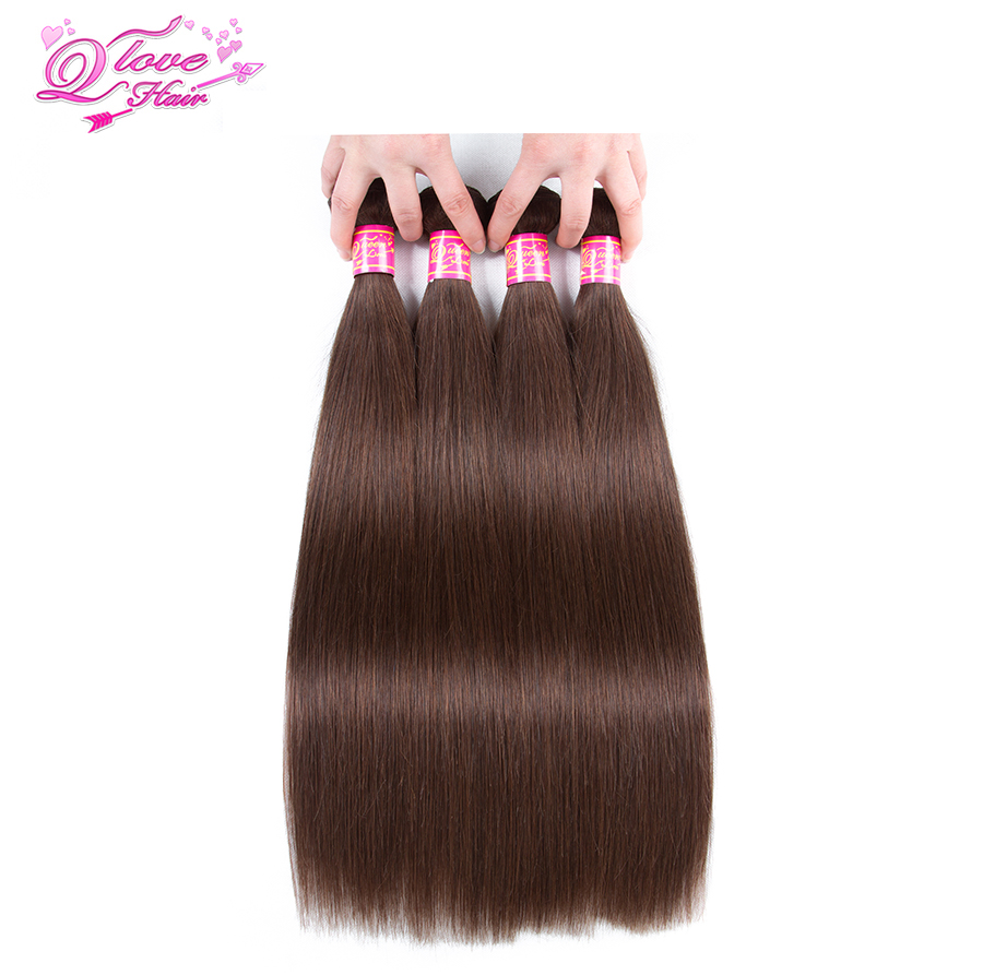 Queen Love Hair Pre-Colored Malaysian Straight Hair 100% Human Hair Bundles 4Pcs Nonr Remy Hair 4 Bundles #4 Color