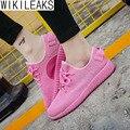 Wikileaks 2016 Новый Женщины Повседневная Удобные Дышащие Легкие Туфли Женщина Твердые Сетки Воздуха Шнуровке Розовый Студент Дешевые обувь