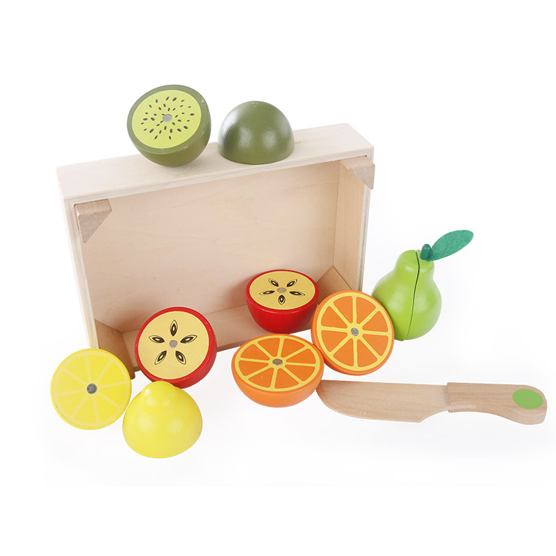 Lesene kuhinjske igrače Rezanje sadja Zelenjavna igra miniaturna - Igra igranja vlog - Fotografija 3