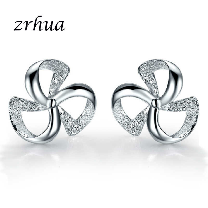 ZRHUA Original 925 Silver Stud Earrings for Women Stud Earring with Stones Women Flower Earings Fashion Jewelry Cute Girl Gifts