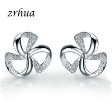 ZRHUA Original 925 Silver Stud Earrings for Women Stud Earring with Stones Women Flower Earings Fashion Jewelry Cute Girl Gifts(China)