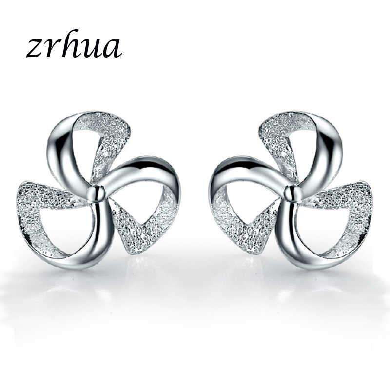 ZRHUA Original 925 Silver Stud Earrings for Women Stud Earring with Stones Women Flower Earings Fashion Jewelry Cute Girl Gifts