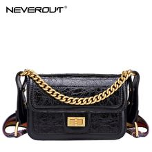 NEVEROUT Womens Crossbody Shoulder Bags Oil Wax Handbag Leather Flap Purse Clutch Twist Lock with Wide Strap