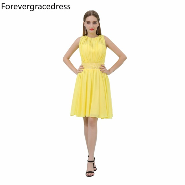 Forevergracedress Yellow Short Prom Dress New Arrival Sleeveless Knee Length  Chiffon Evening Party Gown Plus Size efd82e1a281f