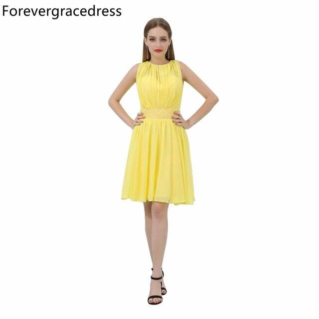 00ccde31c00 Forevergracedress jaune robe de bal courte nouveauté sans manches au genou  longueur en mousseline de soie