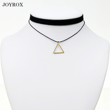 JOYROX Creative Geometric Triangle Shape Women Pendant Fashion Collar Black Leather Choker Gothic Chain Ladies Colar Necklace