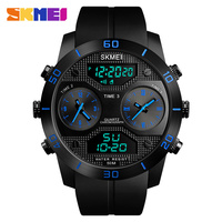 Outdoor Watches Men 50m Waterproof LED Electronic Quartz Watch Vibrating Stainles Steel Dual Display Watch relogio masculino