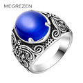MEGREZEN Female Vintage Silver Ring With A Stone For Men Cool Large Rhinestone Rings Gifts For Women Bague En Argent Femme CS02