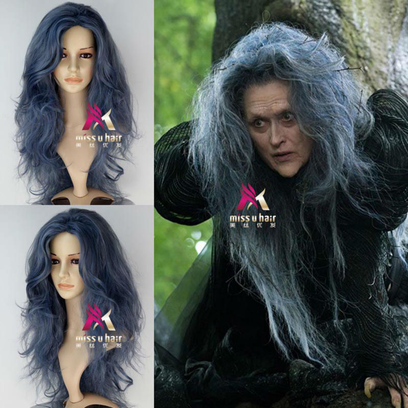 New Movie Into the Woods Witch (Meryl Streep) Synthetic Long Wavy Tousle Anime Movie Cosplay Wig