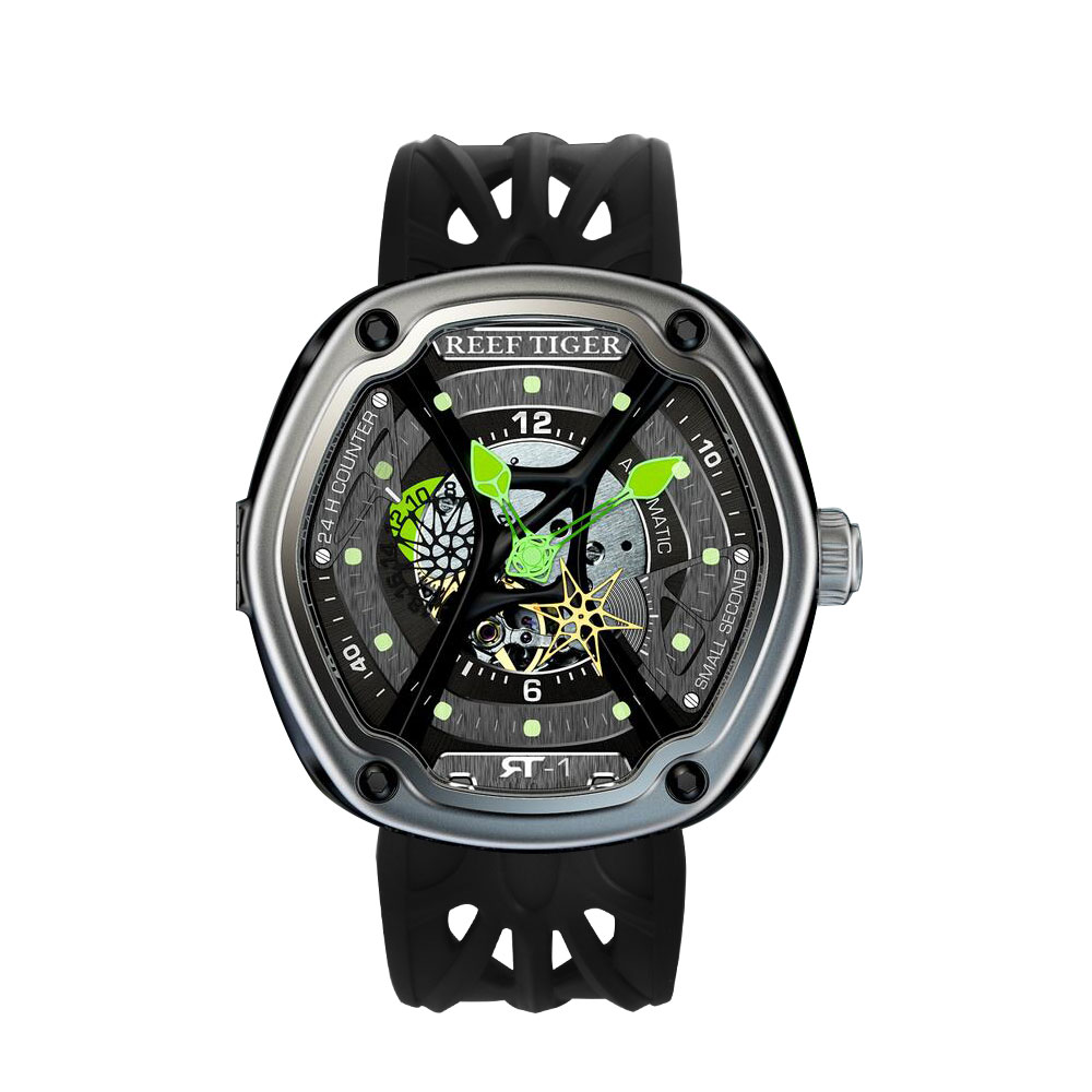 Recife Tigre/RT Dive Sport Watch Mostrador Luminoso do relógio de Luxo Nylon/Couro/Rubber Strap Automática Relógio de Design Criativo RGA90S7