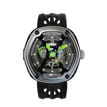 Reef Tiger/RT Роскошные спортивные часы для дайвинга светящийся циферблат нейлон/кожа/резиновый ремешок автоматический Креативный дизайн часы ...