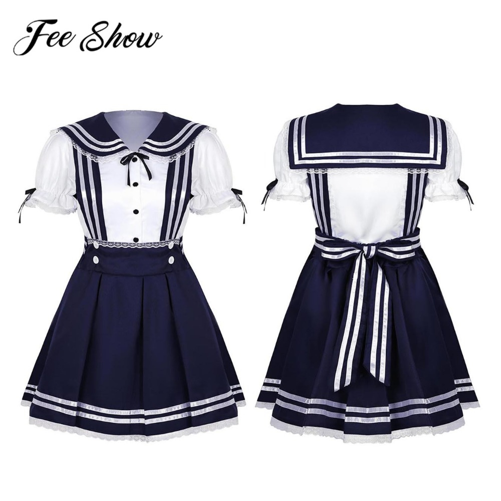 New Arrival Women & Girls High School Sailor Uniform Cosplay Costume Outfit Short Puff Sleeve Shirt with Pleated Suspender Skirt