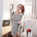 Striped Off Shoulder Dress 2017 Winter Autumn Square Collar Party Women Dresses Long Sleeve Cotton Mini Dress Sexy Robe Femme