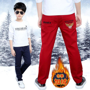 Image 3 - Boys pants teenage winter velvet warm pants kids long style solid causal trousers 3 15T baby boys outwear children clothes