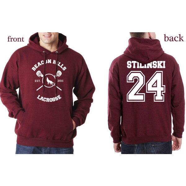Beacon Hills Hombres Lacrosse/Womens Hoodies Wolf Stiles Stilinski Teen 24 Negro Parejas Hoodie Sudadera Con Capucha Jersey Tamaño S-3XL