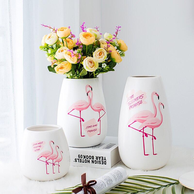 Набор из 3 современные Керамика ваза Фламинго Ваза фарфоровая гидропоники Контейнер Главная свадебный Декор Craft (S/M /l)