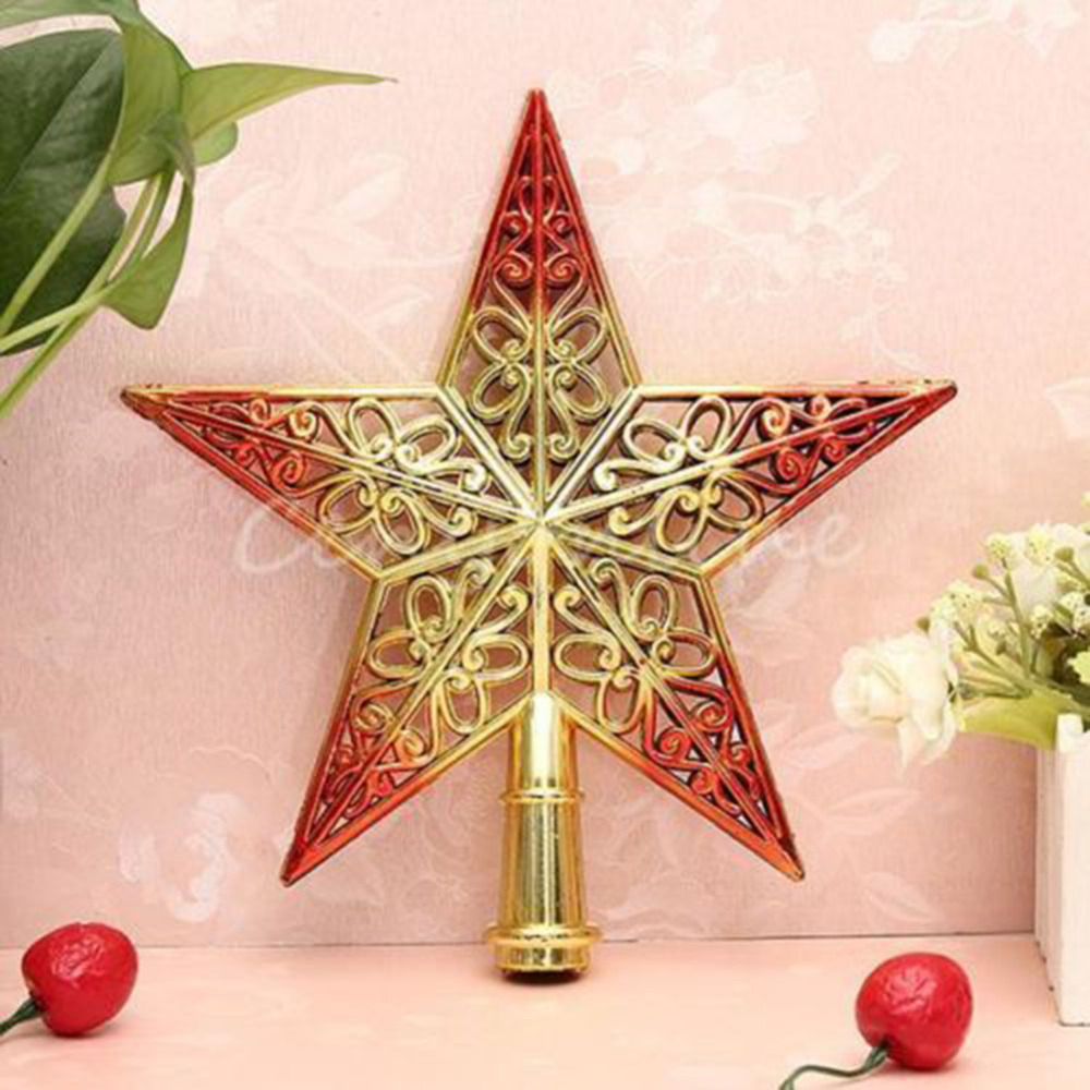 1pcs Shining Star Christmas Tree Top Ornament 20cm Gold+red Star Home House  Party Festival