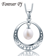 2016 Basic 100% Actual Real Pearl Necklace Classic Silver Pendant White Pink Purple Pure Freshwater Pearl Wedding ceremony Pendants
