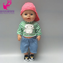Fits for 43cm baby doll boy clothes set strip shirt + denim pants + baseball cap suit for 18 inch Americanboy longan dolls(China)