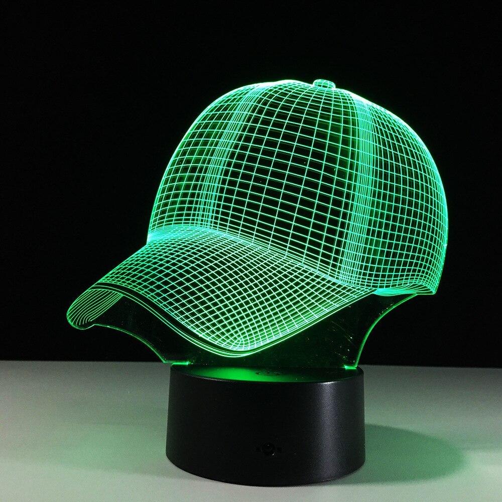Hot Sale 7 Color Change Baseball Cap 3D Night Light Baby Sleeping Light Lamp For Children Friends Birthday Party Gift