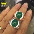 Hombres hombre joya anillo de Ágata verde Natural de plata Auténtica plata de ley 925 anillos de piedra de joyería fina