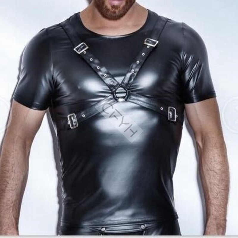 CFYH 2018 New Hot sale Summer Style Fashion Black Faux Leather Men Sexy Lingerie Fitness Tops Tees T Shirts Plus Size XXL