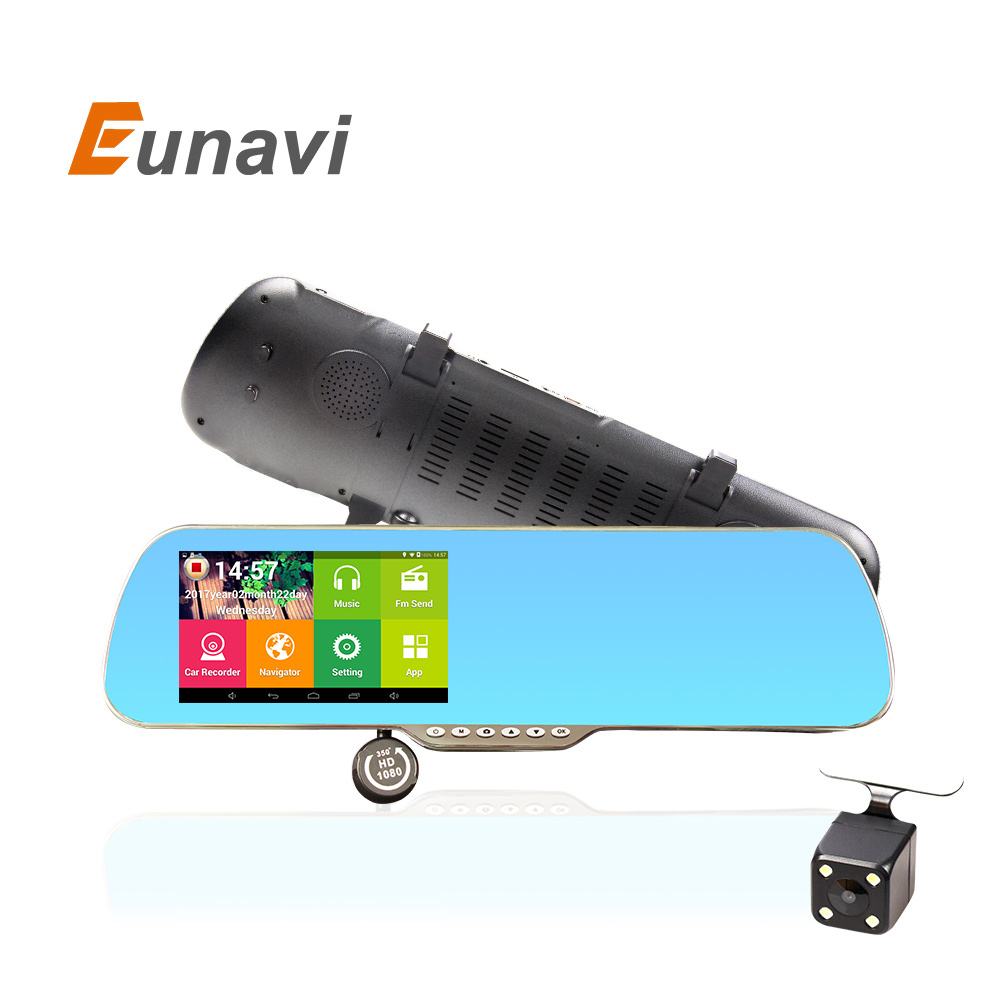 imágenes para Eunavi 5 pulgadas IPS GPS Del Coche DVR Del espejo Retrovisor de Navegación Android 4.4 de Doble Cámara de Camión vehículo Navegador gps Europa
