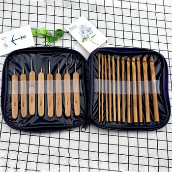 20pcs New Bamboo Crochet Hooks Needles Knit Weave Craft Yarn Sewing Tools Knitting Bamboo Crochet Hook Set with Case New