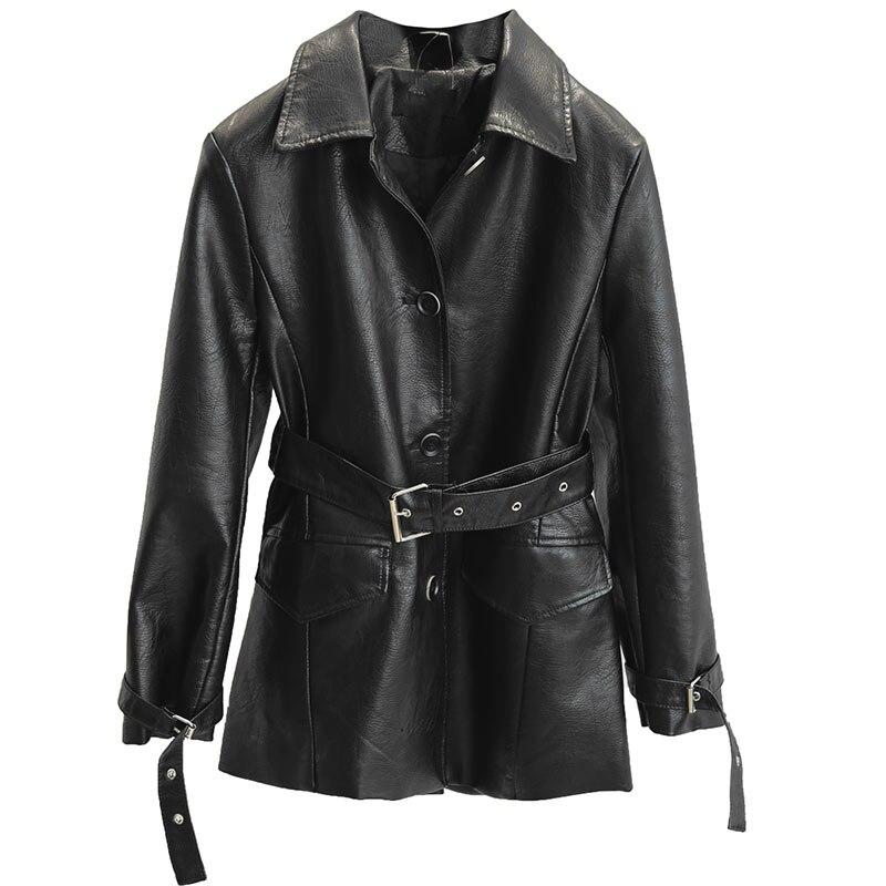 Mujer Manteau Noir Casaco Moto Cuir Blet Jack Trench Long Chaqueta Femininas Black En Veste Avec Qualité Haute Pardessus Femmes Poche 4Zw7xEnTq