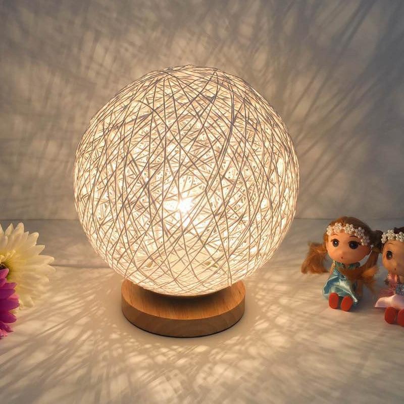 New unique creative bedroom night lamp bedside Sepak takraw E27 light birthday gift home decorative rattan table lamp Wholesale
