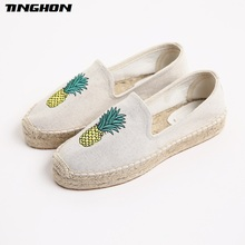 TINGHON Fashion Women Ladies Espadrille Shoes Canvas Embroidery Pineapple Thick bottom Hemps Fisherman Flats Shoes цена 2017
